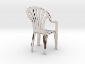 Plastic chair Pendant/miniature (37mm) in Platinum