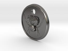 Peacock Spider Pendant in Polished Nickel Steel