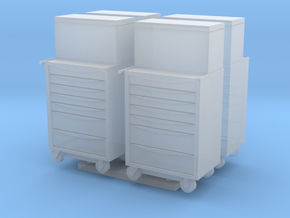 1:55 Scale Modern Toolboxes x4 in Smooth Fine Detail Plastic