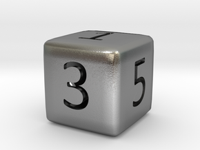 Numeric Dice in Natural Silver