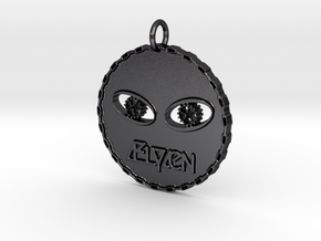 Round Alien Head Pendant in Polished and Bronzed Black Steel