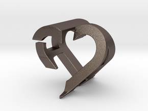 Love Couple Pendant A&F in Polished Bronzed Silver Steel
