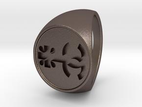 Custom Logo1 Signet Ring in Polished Bronzed Silver Steel