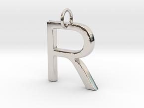 R Pendant- Makom Jewelry in Rhodium Plated Brass