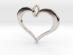 Moon heart- Makom Jewelry in Rhodium Plated Brass