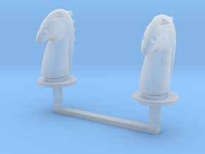 Chess Toppers - 2 Modernist Knights in Smooth Fine Detail Plastic