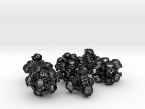 Necromancer's polyhedral dice set in Polished and Bronzed Black Steel