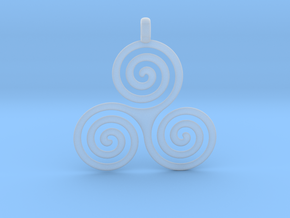 TRIPLE SPIRAL Symbolic Jewelry Pendant in Smooth Fine Detail Plastic