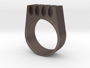 Kaid - The Knitting Aid Ring in Polished Bronzed-Silver Steel