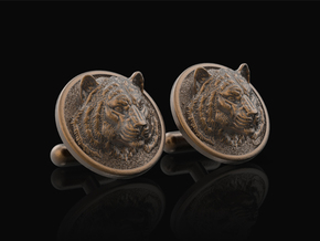 Tiger Cufflinks in Polished Bronze Steel