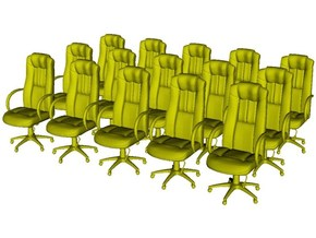 1/64 scale office chairs set A x 15 in Smoothest Fine Detail Plastic