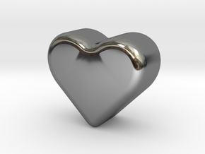 Heart Token, Miniature in Fine Detail Polished Silver