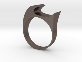 Bottle Opener/ Shotgunning Ring in Polished Bronzed-Silver Steel