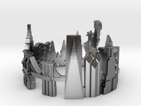 New York Skyline - Cityscape Ring in Polished Silver: 9 / 59