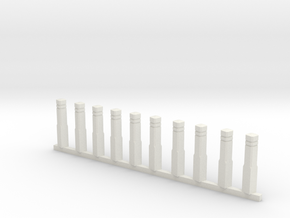 10 Sidewalk poles (1:87) in White Natural Versatile Plastic