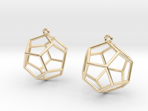 Dodecahedron Earrings in 14K Yellow Gold