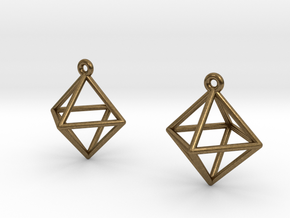 Octahedron Earrings in Natural Bronze