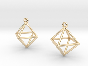 Octahedron Earrings in 14K Yellow Gold