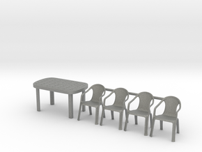 Table and Plastic Chairs 01. 1:35 Scale in Gray PA12