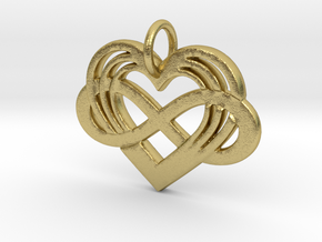 Polyamory Infinity Heart Pendant in Natural Brass