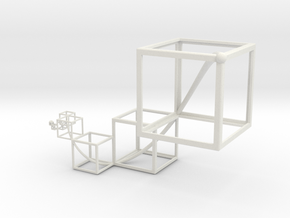 Golden Mean Spiral Cubes Flipped in White Natural Versatile Plastic