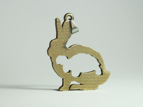 Tortoise and the Hare Necklace Pendant in Polished Bronzed Silver Steel