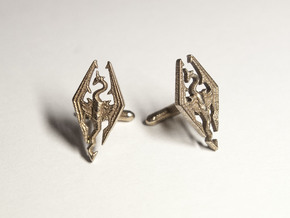 Skyrim Cufflinks in Polished Bronzed Silver Steel