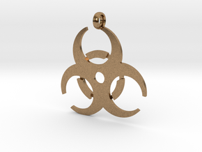 Biohazard necklace charm (simple) in Natural Brass