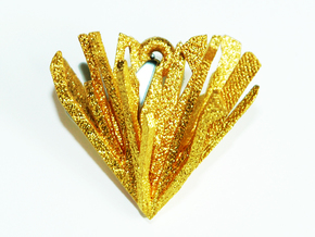 Shattered Heart Necklace Pendant in Polished Gold Steel