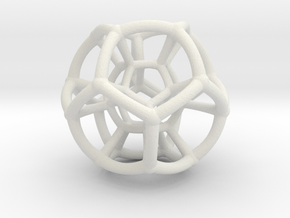 4d Hypersphere Bead - Abstract Math Art Pendant 3D in White Natural Versatile Plastic