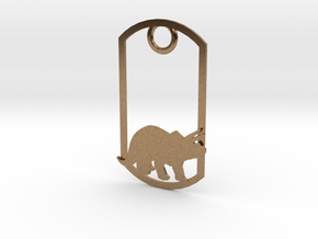 Triceratops dog tag in Natural Brass