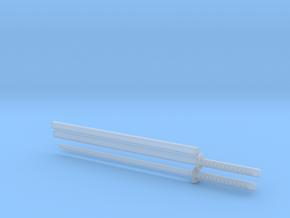 Long katana - 1:12 scale - Straight blade - Tsuba in Smooth Fine Detail Plastic
