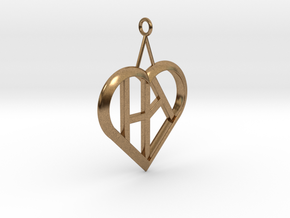 Heart of love pendant [customizable] in Natural Brass