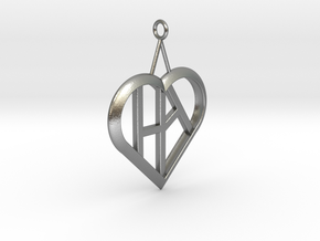Heart of love pendant [customizable] in Natural Silver
