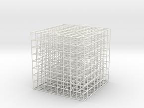 Mesh Cube 81mm in White Natural Versatile Plastic