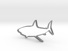 Shark Outline Necklace Pendant in Natural Silver