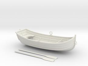 Miniature Rowboat in White Natural Versatile Plastic