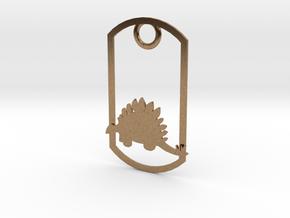 Stegosaurus dog tag in Natural Brass