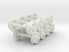 Scenic 14mm gauge Hudson wheels in White Natural Versatile Plastic