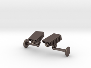 CCTV surveillance camera cufflinks in Polished Bronzed Silver Steel