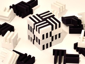 Puzzle Cube, Negative (black) pieces in Black Strong & Flexible