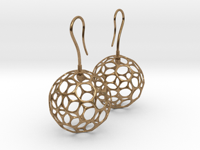 Fertilized Polyhedron Egg Earring in Natural Brass
