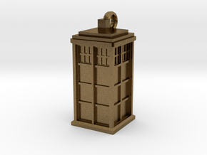 Tardis (T.A.R.D.I.S.) necklace charm in Natural Bronze