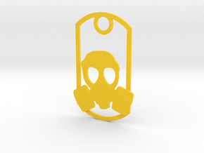 Gas Mask dog tag in Yellow Strong & Flexible Polished