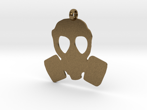 Gas Mask necklace charm in Natural Bronze