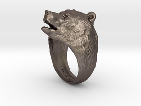 Bear ring in Polished Bronzed Silver Steel