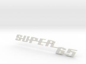 "Nameplate ""SUPER65"" - fits VeeDubs rear lid in White Natural Versatile Plastic"