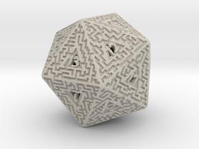 20 Sided Maze Die in Natural Sandstone