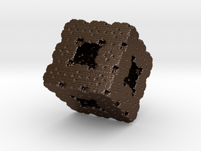 Fractal  Menger4 in Polished Bronze Steel