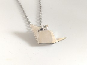 Origami Mouse Necklace in Polished Silver